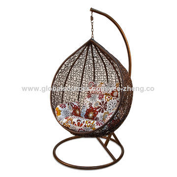 ... China Outdoor And Indoor Furniture PE Rattan Hanging Egg Chair Cum  Swing Chair ...