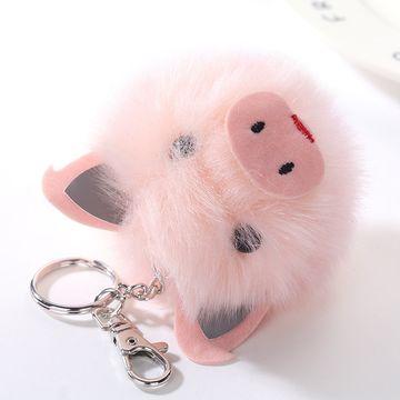 Hong Kong SAR Cute Rabbit Fur Ball Pink Pig Keychain for Women ... b2add8d68b