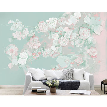 China Gris Chinoiserie Painting Design Begonia Elegant Wallpaper Border Wall Mural Interior Room Decor