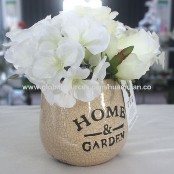 China Artificial Flowers Ceramic Pot For Decoration Rose And