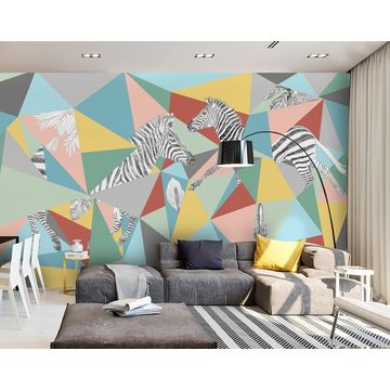 China Gris Abstract Color Blockzebra Wall Mural Wallpaper For Living Room Custom Size
