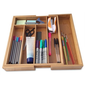 ... China Expandable Bamboo Cutlery Utensil Tray And Office Desk Drawer  Organizer