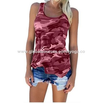 China Women's Camo Sexy Racerback Fitted Sport Vest Tank Tops