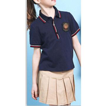 47fde9a5ce73b ... China Polos de encargo del uniforme escolar del algodón del blanco y de  los azules marinos ...