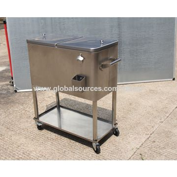 China 80qt Stainless Steel Patio Cooler For Beer Drinks With Bottom Tray