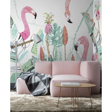 China Gris Flamingo Forest Wallpaper For Walls Murals Living Room Decoration Custom Size Available