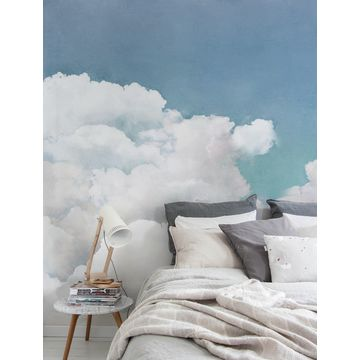 China Gris Cloud Hand Painted Design Wall Paper Murals Eco Friendly Wallpaper Mural Living