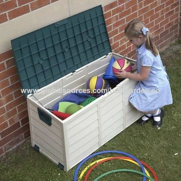... China Outdoor Garden Plastic Storage Utility Kidu0027s Toys Chest Cushion  Shed Box ...