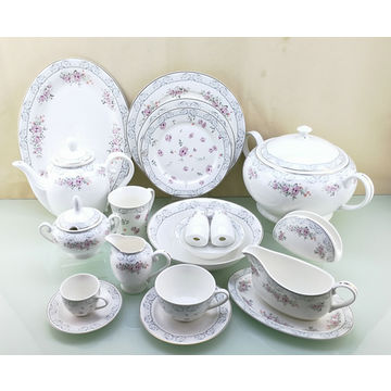 Microwave Dishwasher China 18pcs Fine Round Shape Dinnerware Set Gold Decal With Embossing