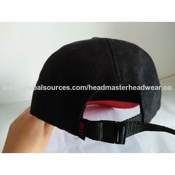 China Suede Baseball Hat with Plastic Inserted Buckle Back Strap on ... 3b3784ab5d22