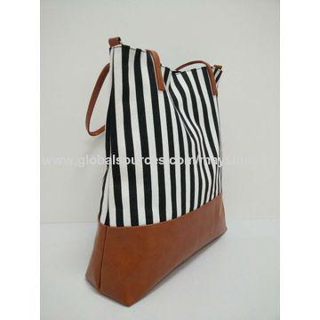 China Striped PU tote bag