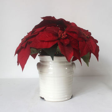 China artificial christmas flowers with vase silk flowers red w china artificial christmas flowers with vase silk flowers red wwhite ceramic pot for mightylinksfo