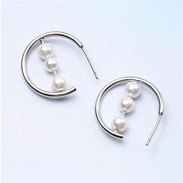 China 2018 New Design Platinum Women S 925 Sterling Silver Pearl Hoop Earrings