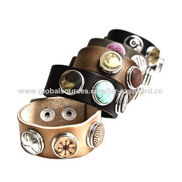 China Chunk Snap Leather Bracelet Decorated With Charms And Diy