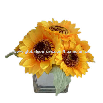 China potted artificial silk flowers yellow sunflowers arrangement china potted artificial silk flowers yellow sunflowers arrangement in wooden pot windowtable party decor mightylinksfo