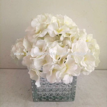 China Artificial Silk Flowers Yellow White Hydrangea Peony In