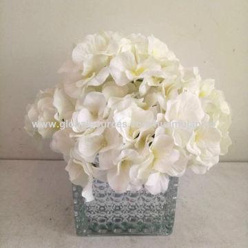 China Artificial Silk Flowers Yellow White Hydrangea Peony In
