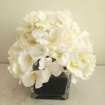 China artificial silk flowers yellow white hydrangea peony in china artificial silk flowers yellow white hydrangea peony in cylinder silver ceramic vase for wedding mightylinksfo