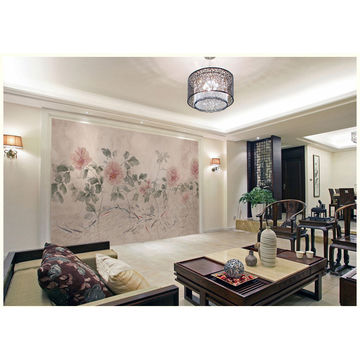China Gris Traditional Water Painting Peony Wallpaper Mural Parlor Wall Decor