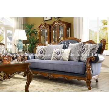 China Wood Leathter Sofa Antique Design Solid