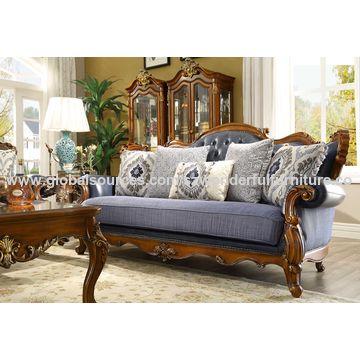 ... China Wood Leathter Sofa, Antique Design, Solid Wood Sofa Frame ...