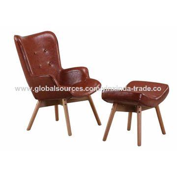China Modern High Back Sofa Living Room Chair with Ottoman ...