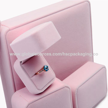 China Customized luxury pink velvet jewelry gift box on Global Sources