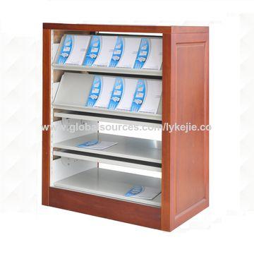 China New Design Wooden Frame Steel Magazine Rack A4 Magazine ...