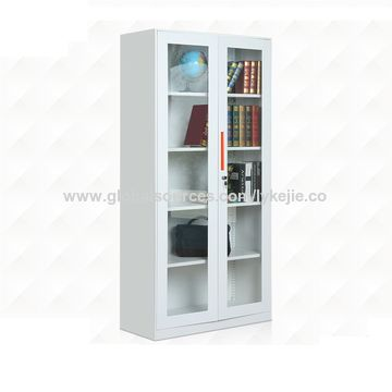 China White Glass Door Bookcase Cabinet Office Storage Book File