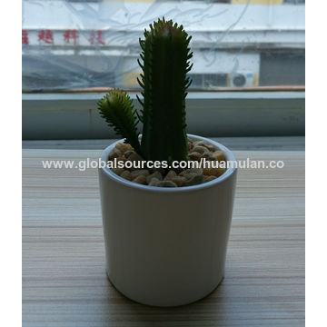 china mini artificial cactus succulent plants in yellow ceramic pot