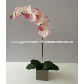China Artificial Flowers Silk Pink Orchid Arrangement In Marble