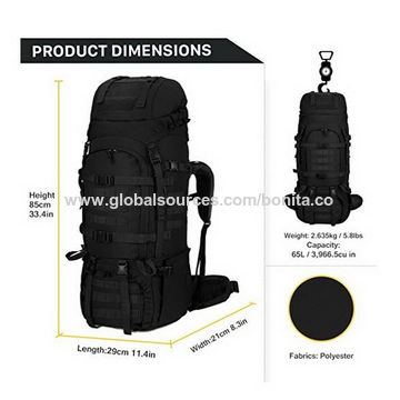 China 65+10L/65 Liter Internal Frame Backpack Tactical Military ...