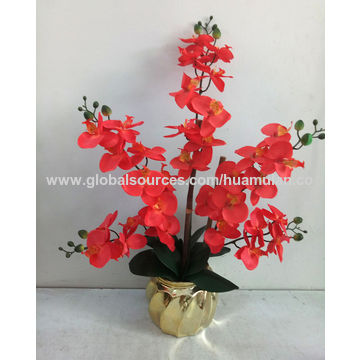 China Artificial Flowers Silk Pink Orchid Arrangement In Plastic