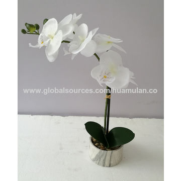 china artificial flowers, silk pink orchid arrangement in plastic
