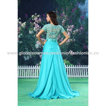 China Evening dresses top lace beadings chiffon skirt A-line scoop sleeveless special occasion dress