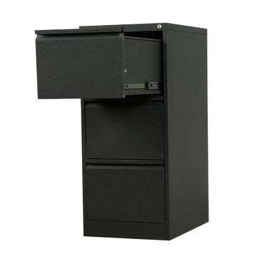 China Black 3 Drawer Metal File Cabinet With Lock