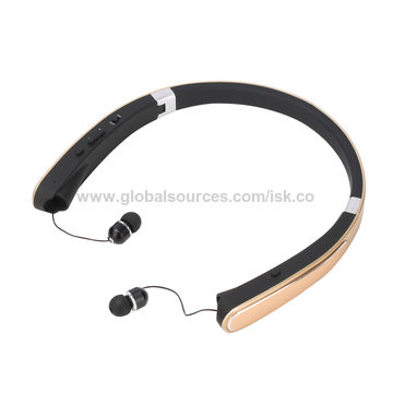 f7e31743bbc ... China Best Foldable Bluetooth Wireless Neckband Sports Headphones with  Retractable Earbuds ...