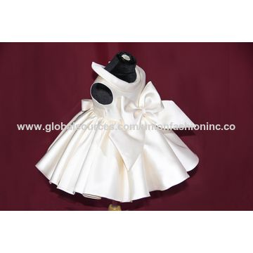 China Baby dresses ivory mikado bow baptism gown on Global Sources