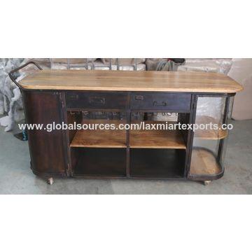 India Vintage Metal Wine Rack Storage Cabinet With Wheels Kitchen