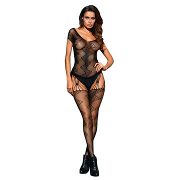 86a603c935 ... OEM China Black Zig Zag Motif Net Body Stockings