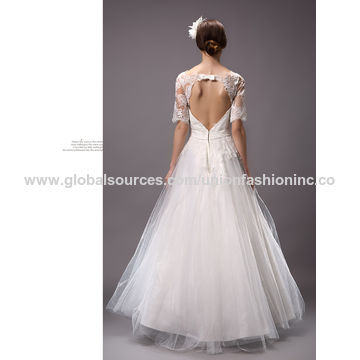 China Women\'s Lace Half-sleeved Backless Wedding Dresses on Global ...