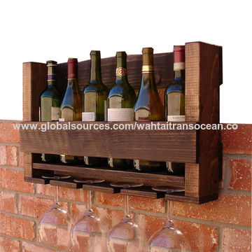 ... China Rustic 6 Bottles Wine Rack With 4 Glass Holder, Rustic Style ...