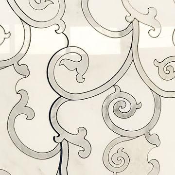 China Chiseled Waterjet Marble Mosaic Tile Art French Flower Pattern In Dubai Price