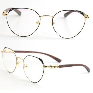 China Women\'s Glasses Frame Metal Prescription Wooden Optical Frames ...