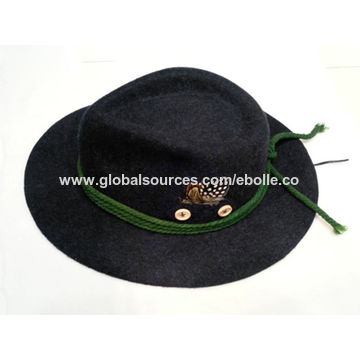 885701337152c ... China Men s Down Brim Woolen Felt Hat with Velvet Hat Band and Feather  ...