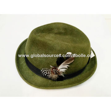 b58f179f7b27a ... China Men s Down Brim Woolen Felt Hat with Velvet Hat Band and Feather  Trim