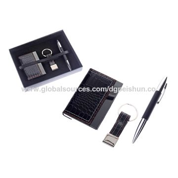 china office business stationery gift sets including name card holder keyring and pen - Card Holder With Keyring