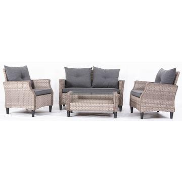 China 4 Piece All Aluminum Kd Knock Down Bistro Garden Furniture Pe Wicker Rattan Sofa
