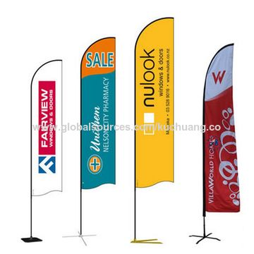 China Custom Beach Flag Banner Knitted Polyester Advertising Flags For Outdoor Events