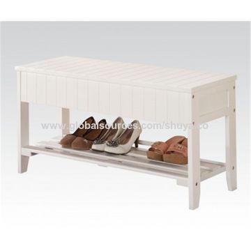 China Ennegrezca el estante del zapato de madera sólida, estante del ...